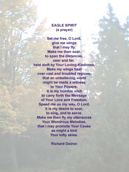 Eagle Spirit - A Spirituality Poem by Richard Doiron, photo by Richard Vallance.