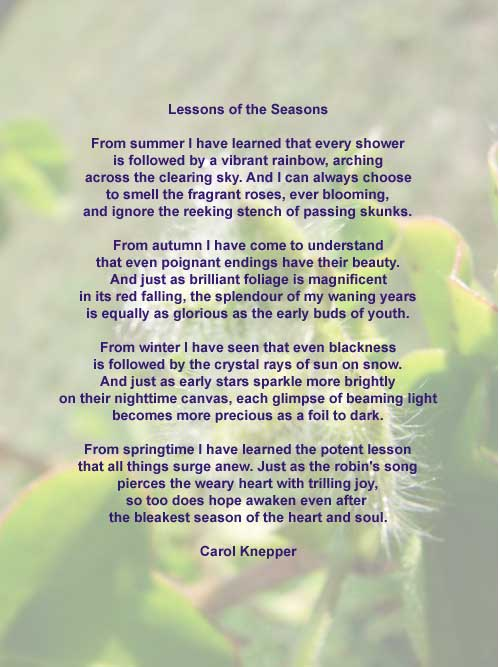 Lessons of the Season, a nature poem by Carol Knepper, background image by Richard Vallance.