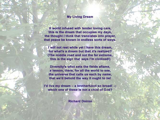My Living Dream, a Peace Poem by Richard Doiron, image by Luc Majno