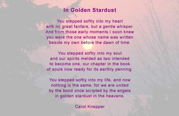 Spirits In Peace - Carol Knepper The inspiration for this love poem came a vision of lovers surrounded by a golden light.